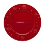 "Тарелка столовая 28 см красная, ""Снежинки"", Snowflakes"