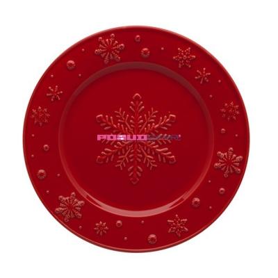 """Тарелка десертная 22 см красная, """"Снежинки"""", Snowflakes"""