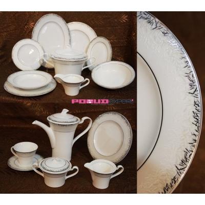 Сервиз столовый Лорель ФБС T-2158 (платина) на 12 персон, 42 предмета.